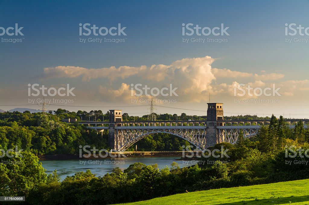 Britannia Bridge, connecting Snowdonia and Anglesey stock photo