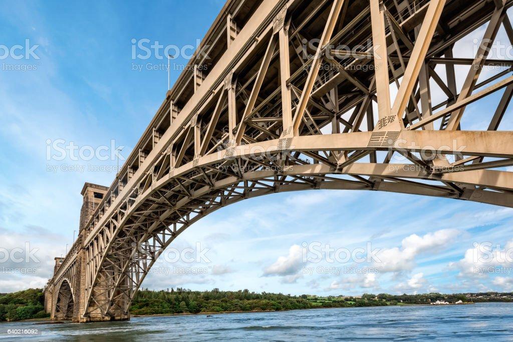Britannia bridge over Menai Strait in North Wales stock photo