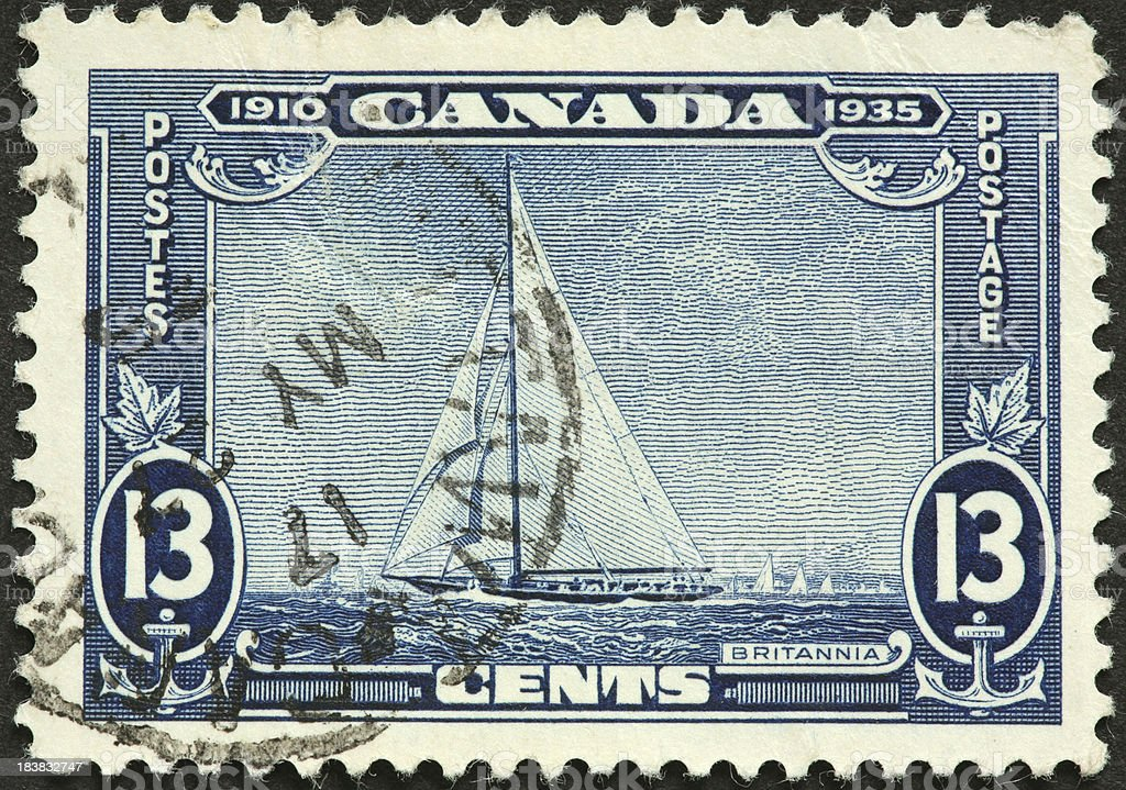 HMY Britannia (Royal Cutter Yacht), old Canadian postage stamp royalty-free stock photo