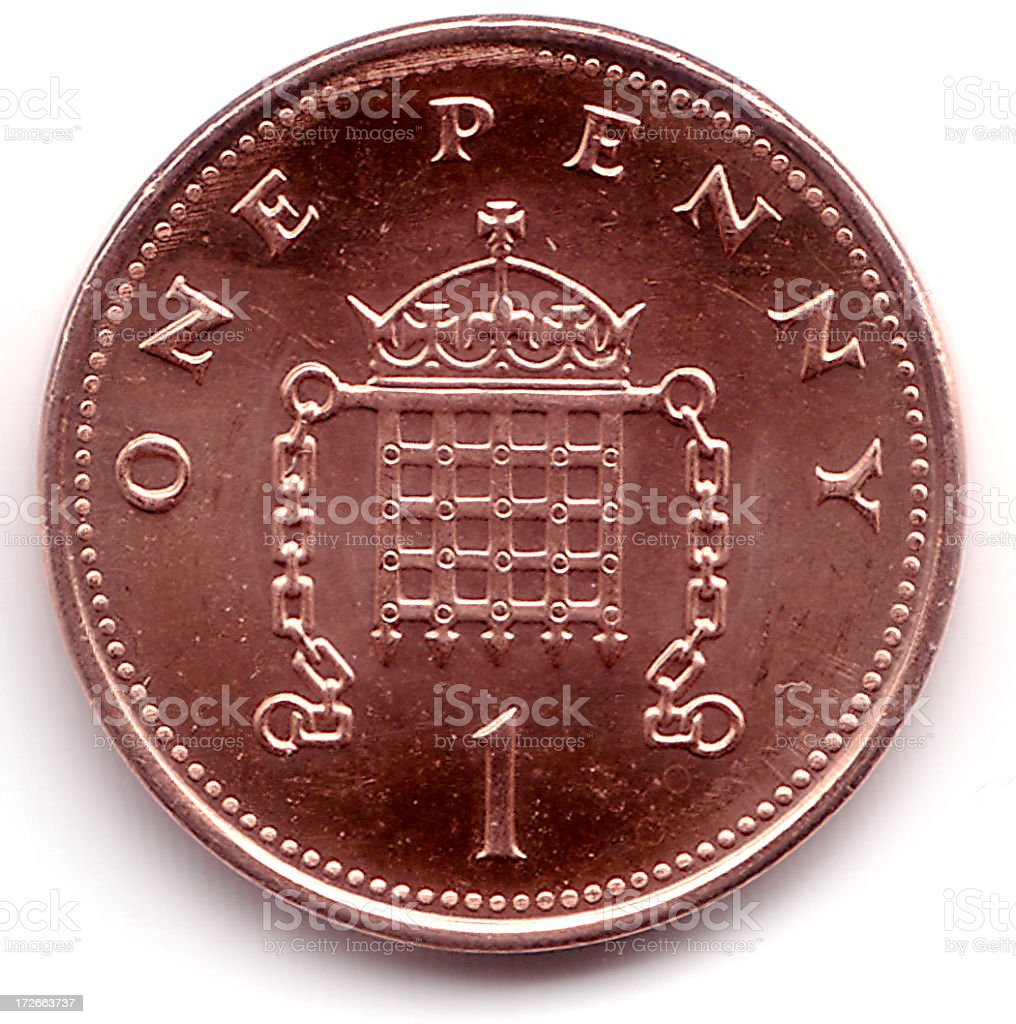 British 1 Pence Coin royalty-free stock photo