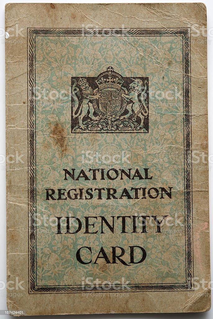 British 1940's Identity Card stock photo