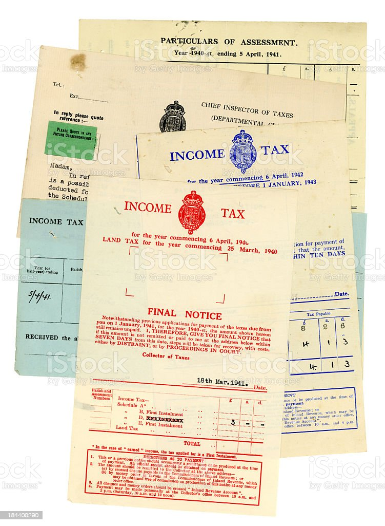 British 1940s Income Tax documents royalty-free stock photo