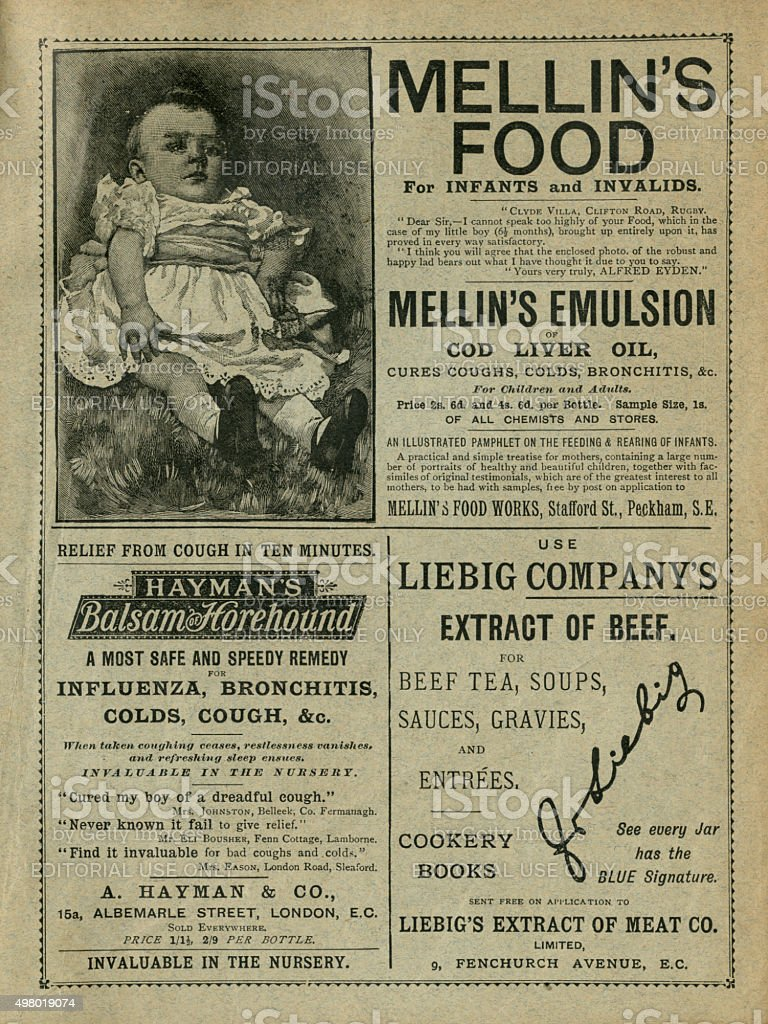 British 19th century advertisements stock photo