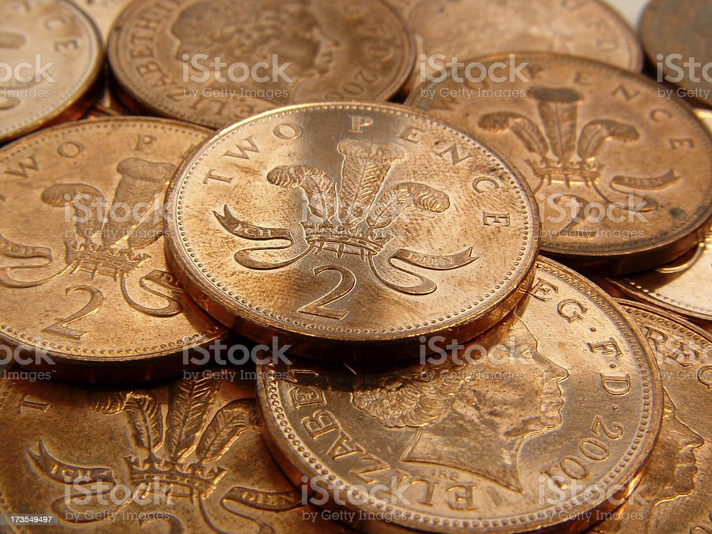 British 2 Pence Coins royalty-free stock photo