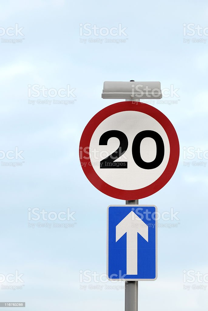British 20 mph speed limit traffic sign royalty-free stock photo