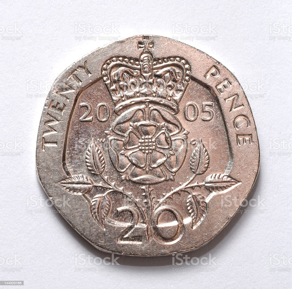 British 20 pence coin royalty-free stock photo