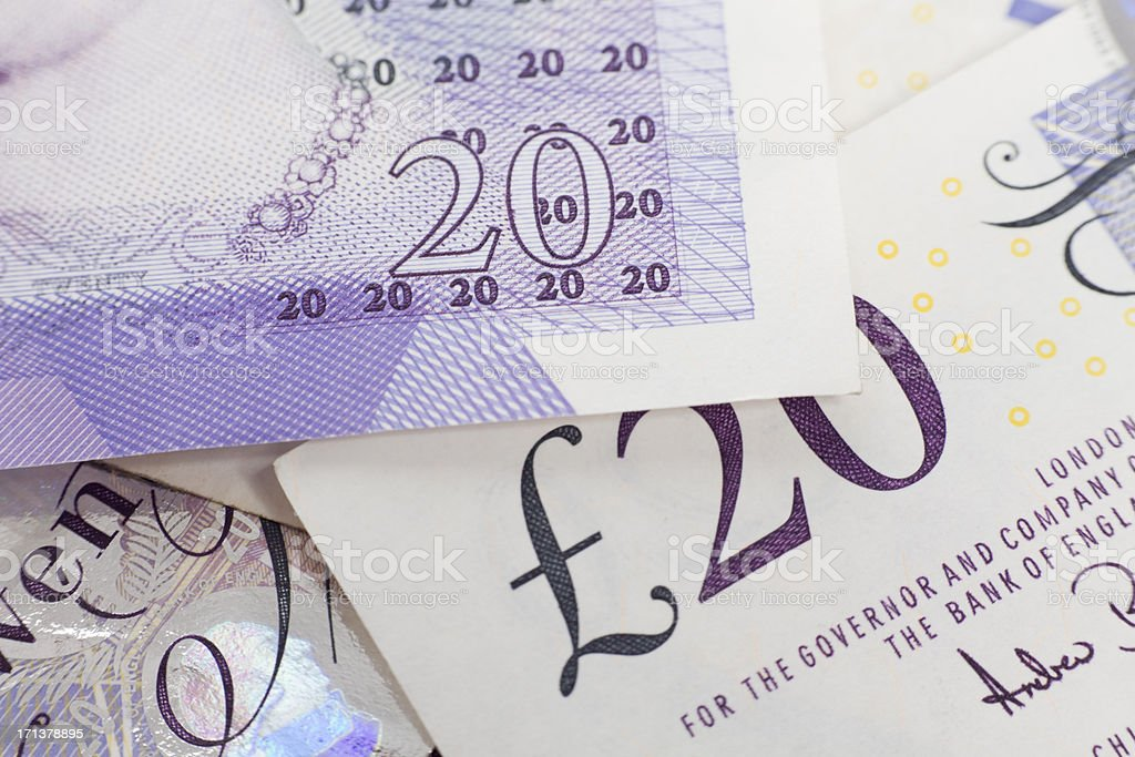 British 20 pounds banknote macro XXXL stock photo