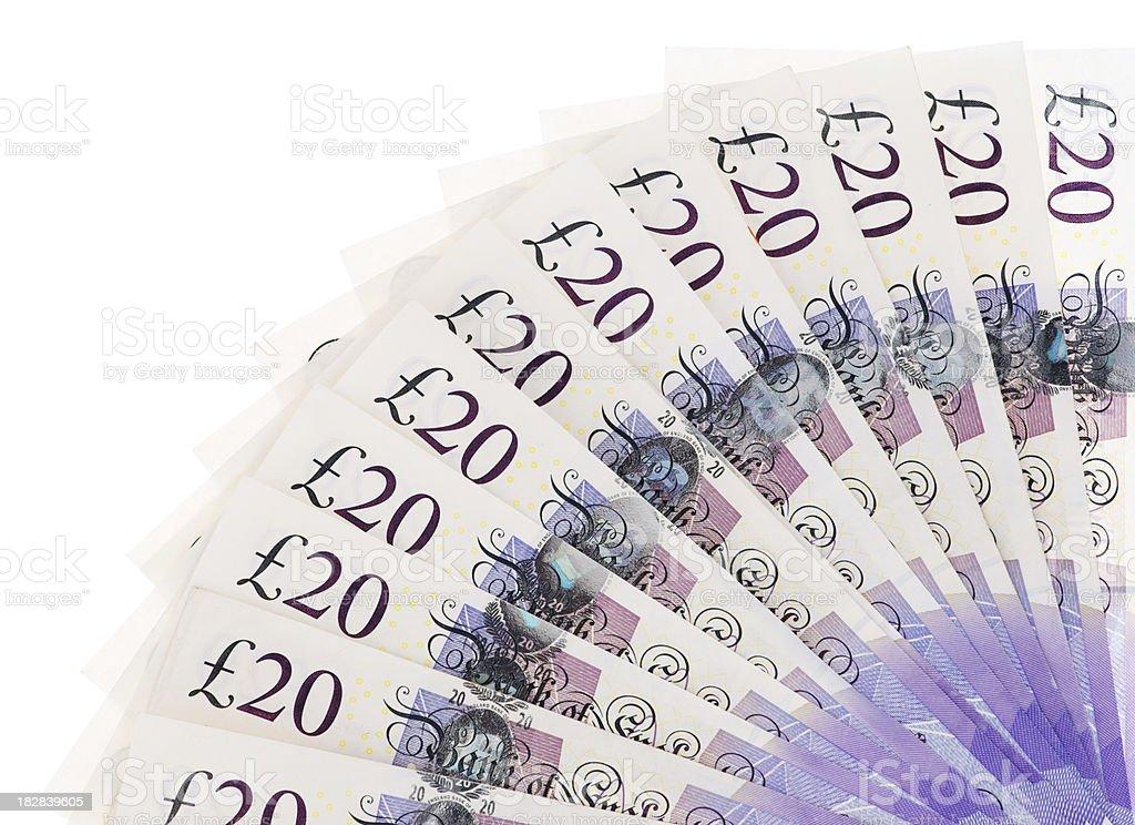 British 20 pounds border isolated on white royalty-free stock photo