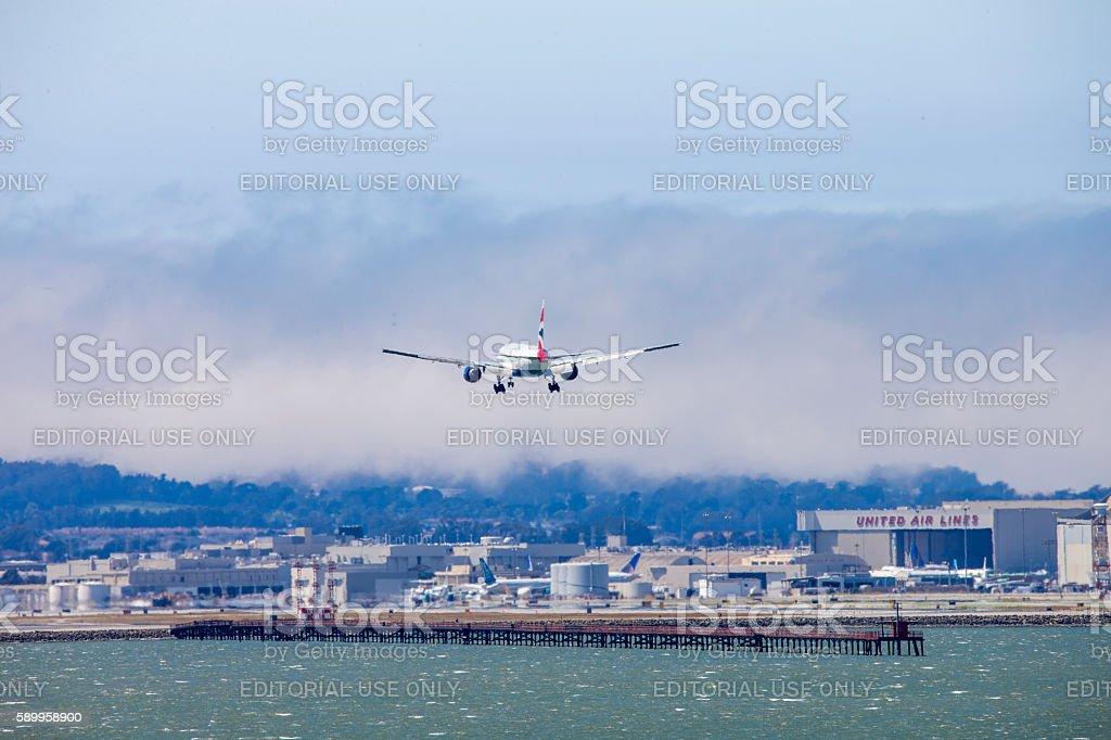 British Airline Airplane Landing to San Francisco Airport stock photo