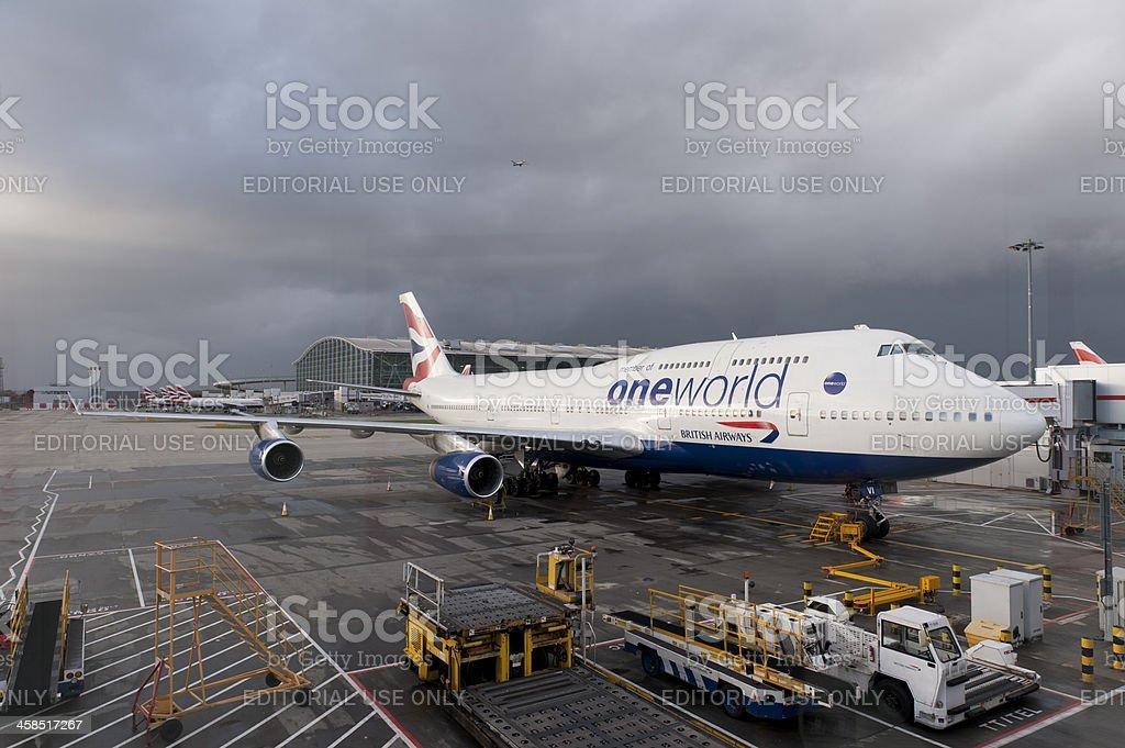 British Airways Aeroplane at Heathrow Terminal 5 stock photo