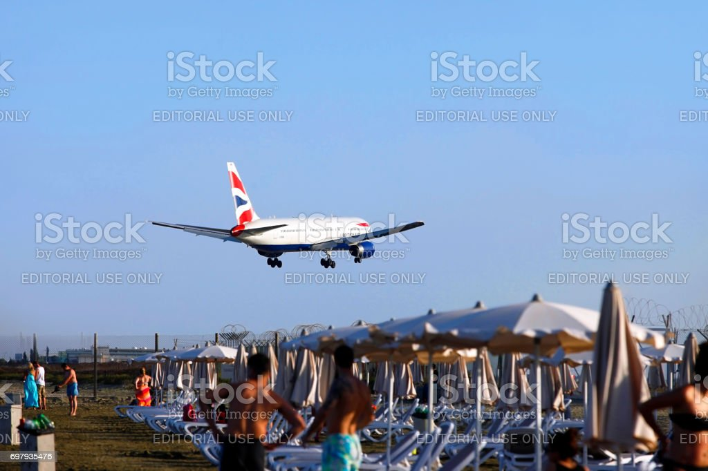 British Airways Airbus A320 landing at Larnaca International Airport stock photo