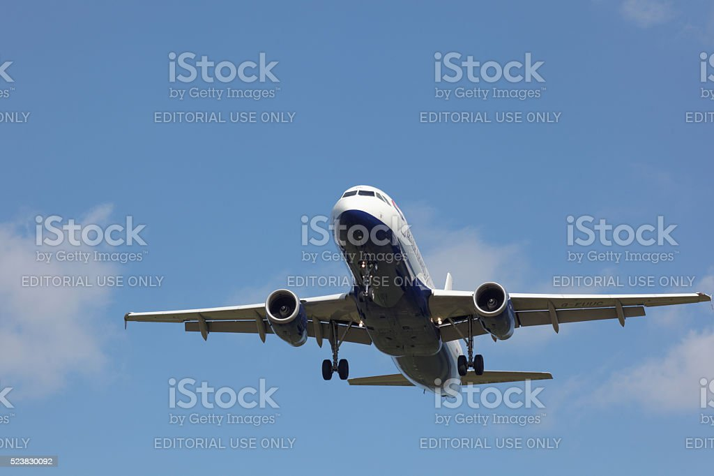 British Airways Airbus on final approach stock photo