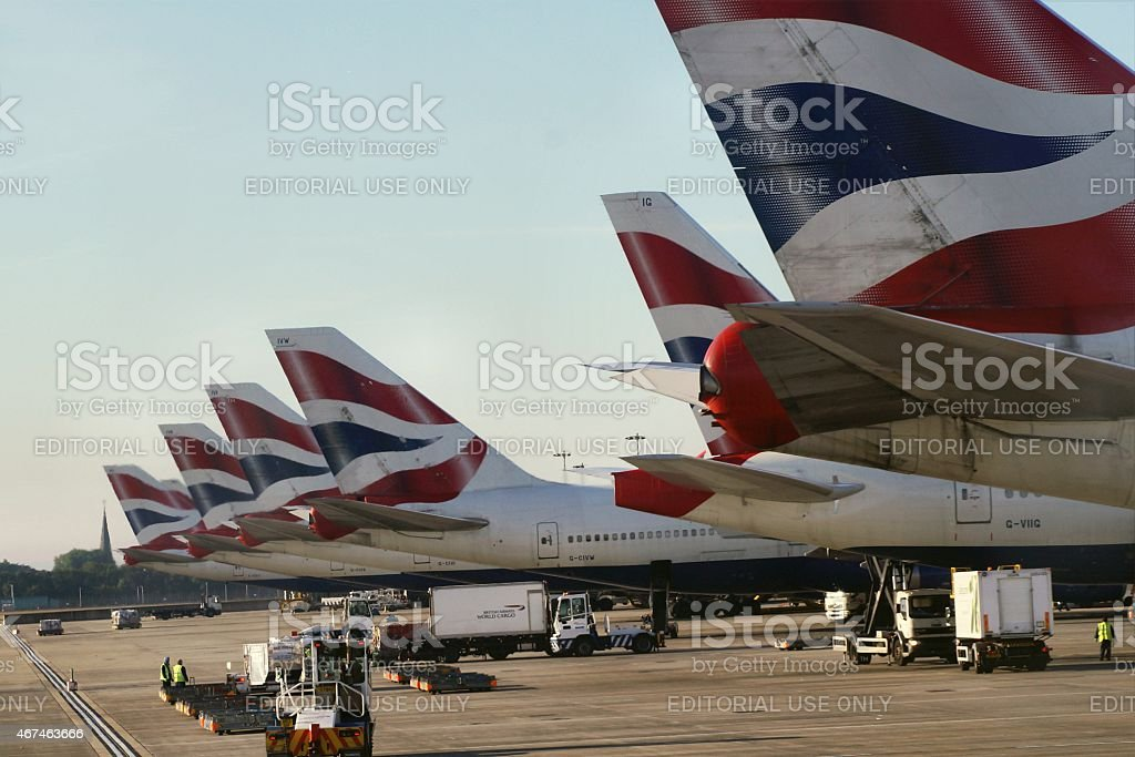 British Airways aircrafts in a row at London Heathrow, UK stock photo