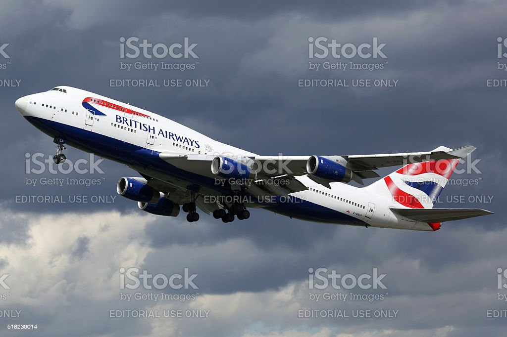 British Airways airplane Boeing 747-400 London Heathrow airport stock photo