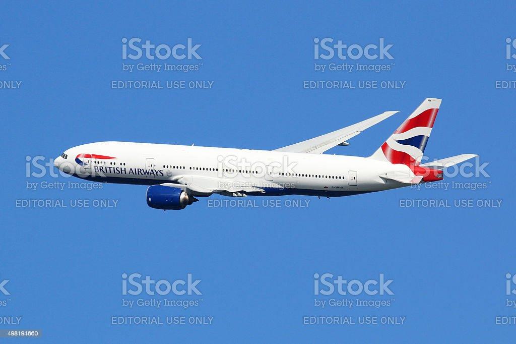 British Airways airplane Boeing 777-200ER London Heathrow airport stock photo