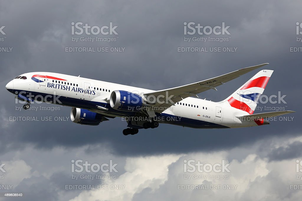 British Airways airplane Boeing 787-8 Dreamliner London Heathrow stock photo