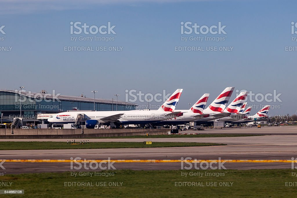 British Airways Airplanes at the London Heathrow Airport stock photo