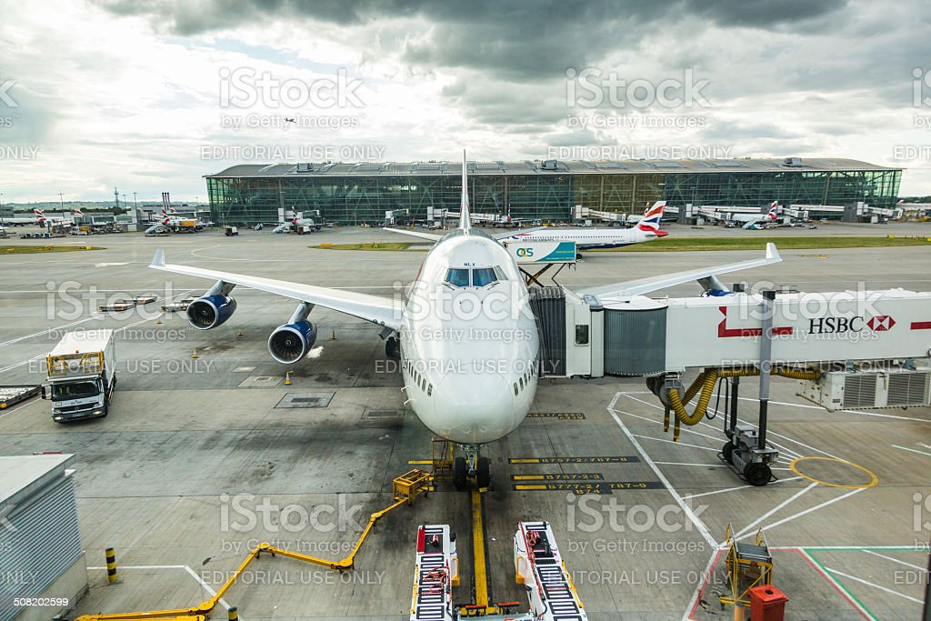 British Airways Boeing 747 at London Heathrow airport stock photo