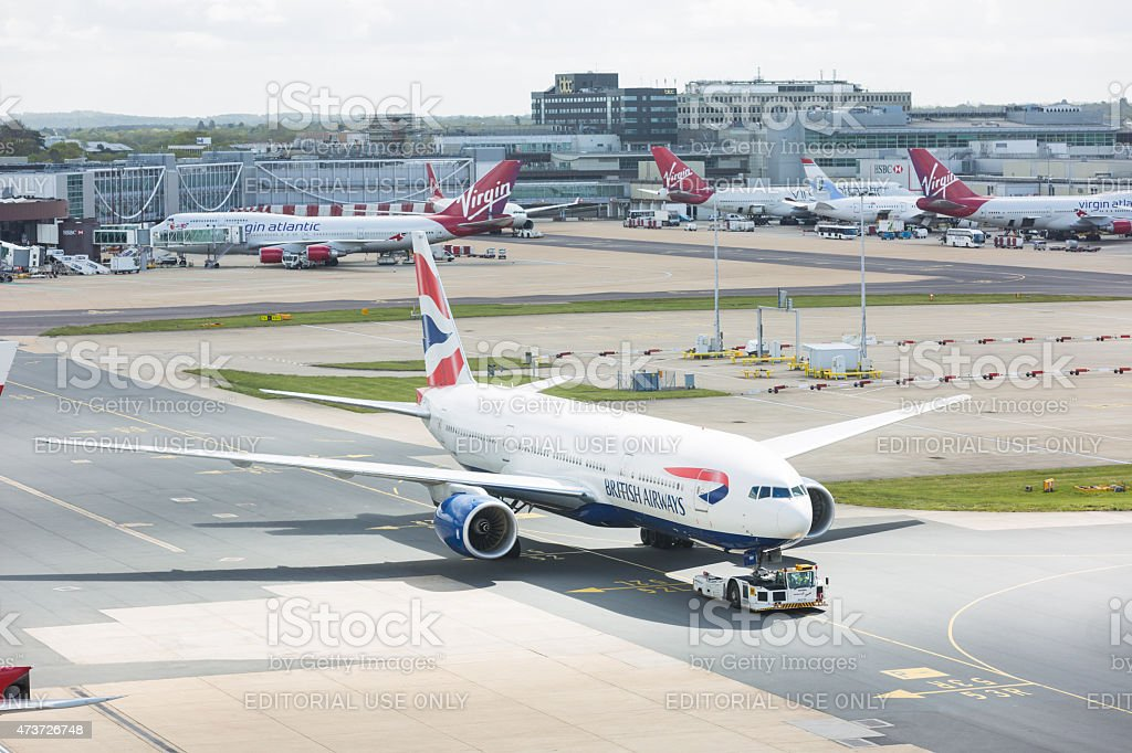 British Airways Boeing 777 at London Gatwick airport stock photo