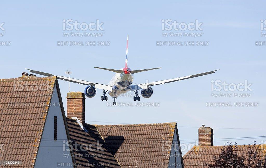 British Airways Boeing 777 lands at Heathrow royalty-free stock photo