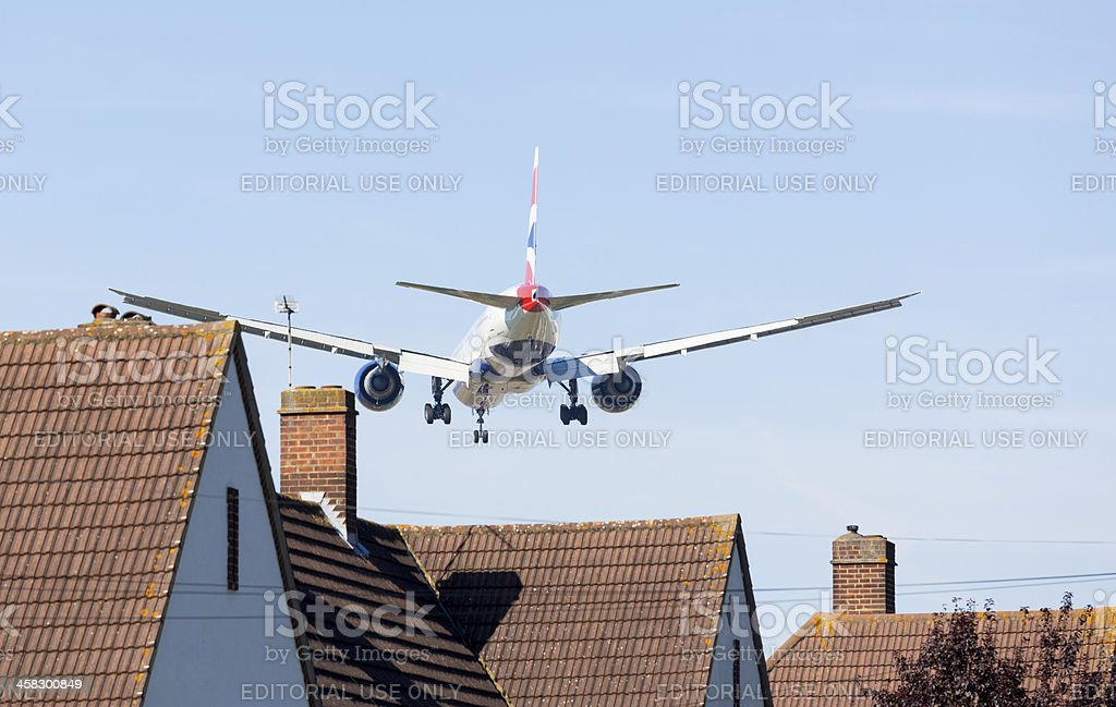 British Airways Boeing 777 lands at Heathrow stock photo