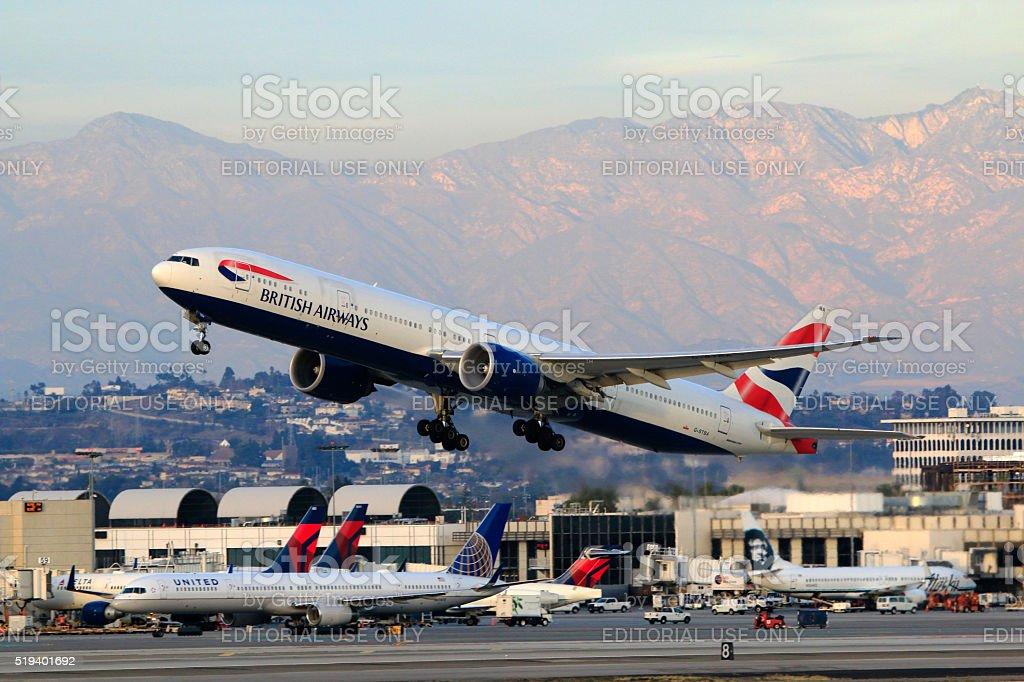 British Airways Boeing 777-300ER taking off at LAX Airport stock photo