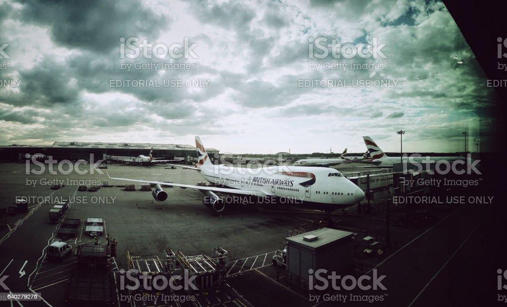 British Airways commercial airplane parked in Paris stock photo
