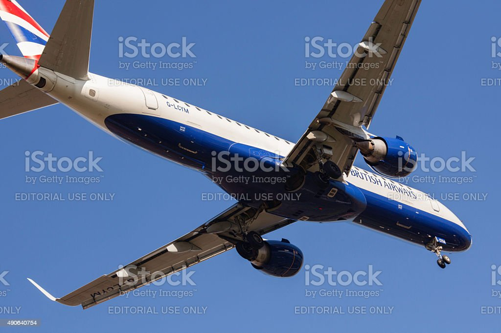British Airways Embraer ERJ-190 working the short-haul routes stock photo