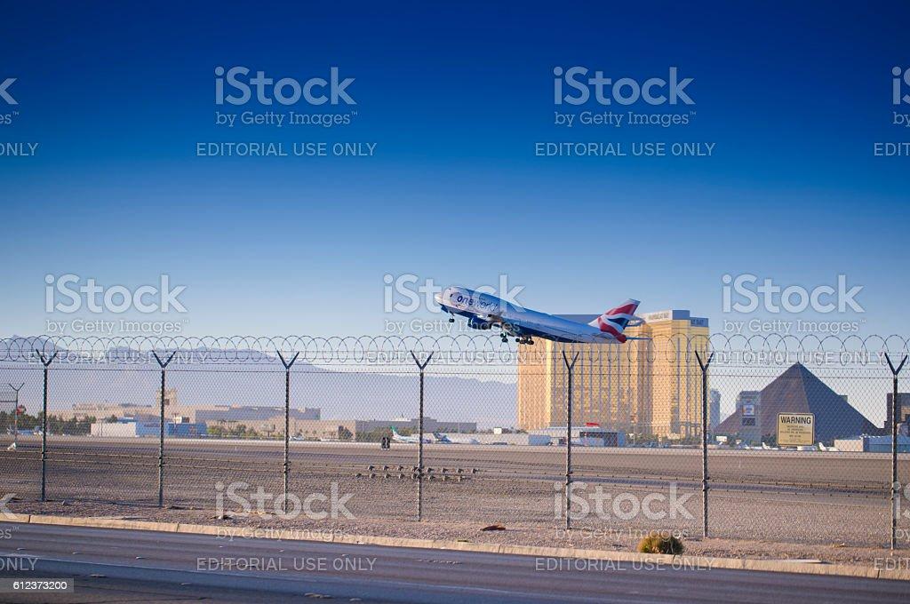 British Airways Flight Leaving Las Vegas stock photo