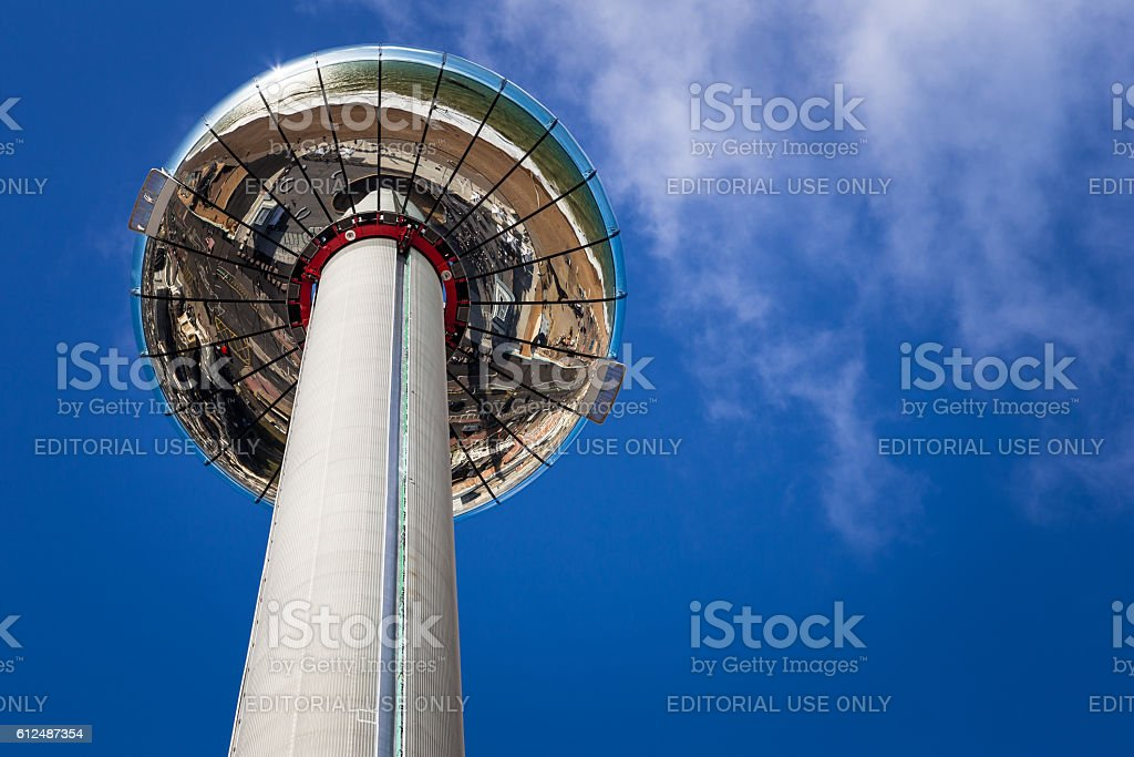 British Airways i360 Tower and blue sky, Brighton, UK stock photo