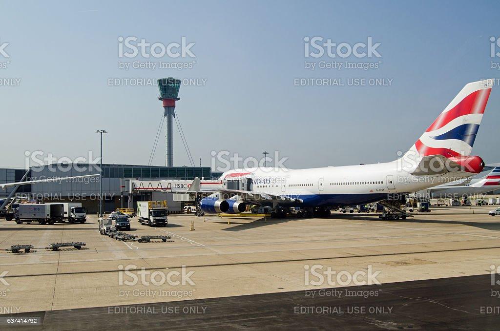 British Airways Jumbo at Heathrow Airport, London stock photo