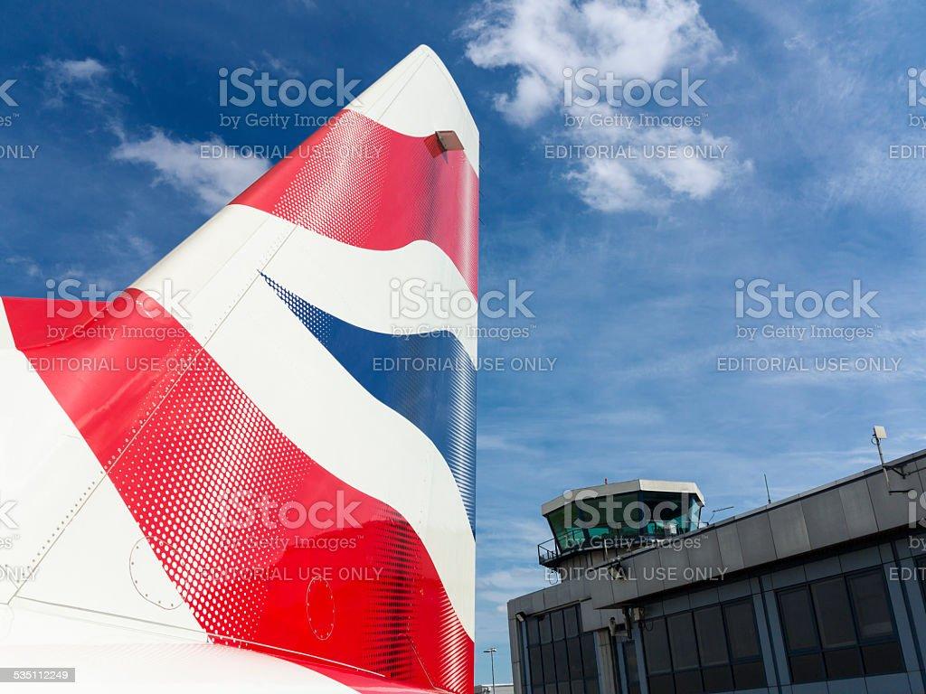 British Airways logo on airplane stock photo