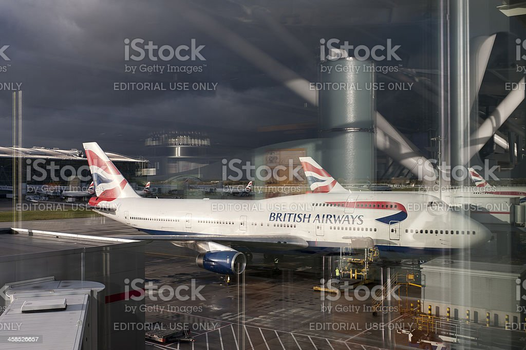 British Airways Plane at Heathrow Terminal 5 royalty-free stock photo