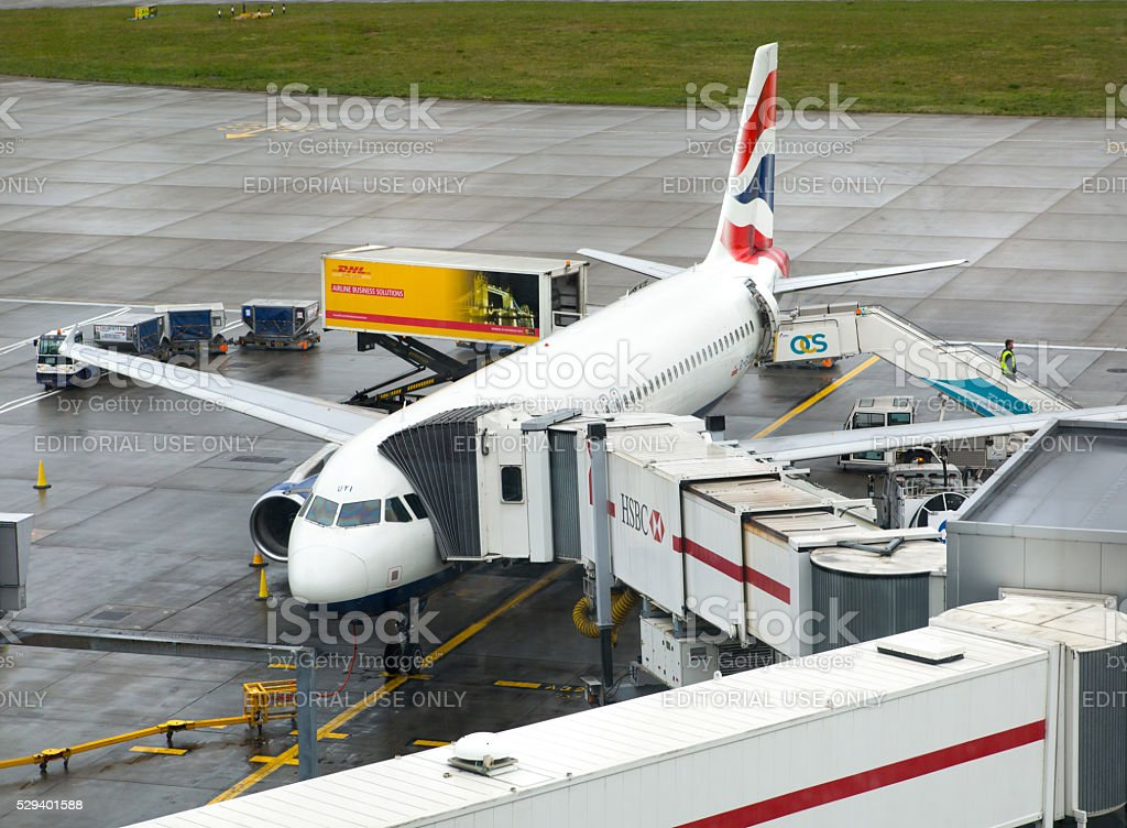 British Airways plane in the Heathrow airport, London stock photo