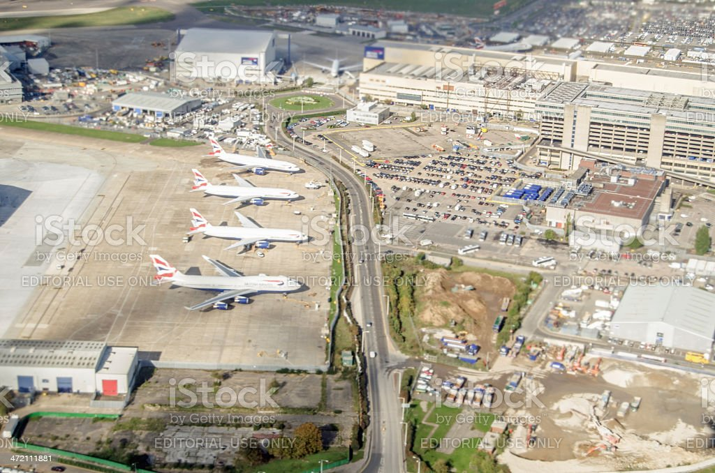 British Airways planes at Heathrow, from above stock photo