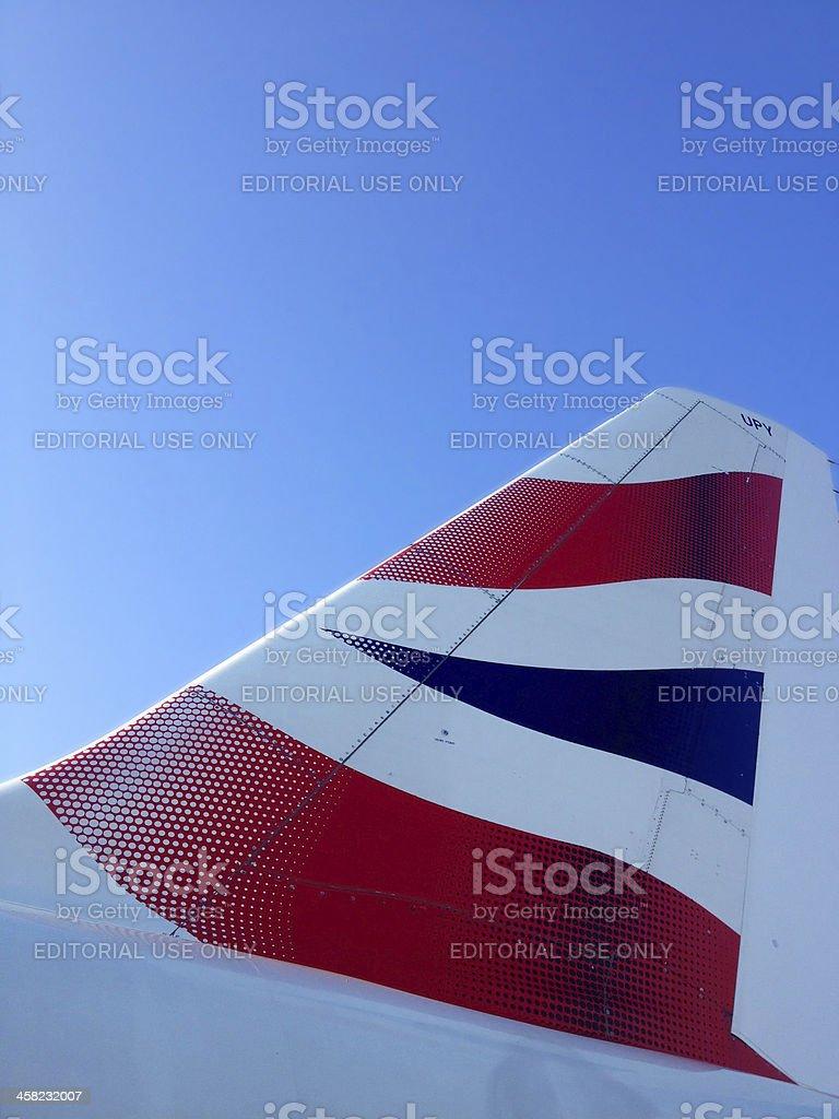 British Airways tail fin at Heathrow Airport stock photo
