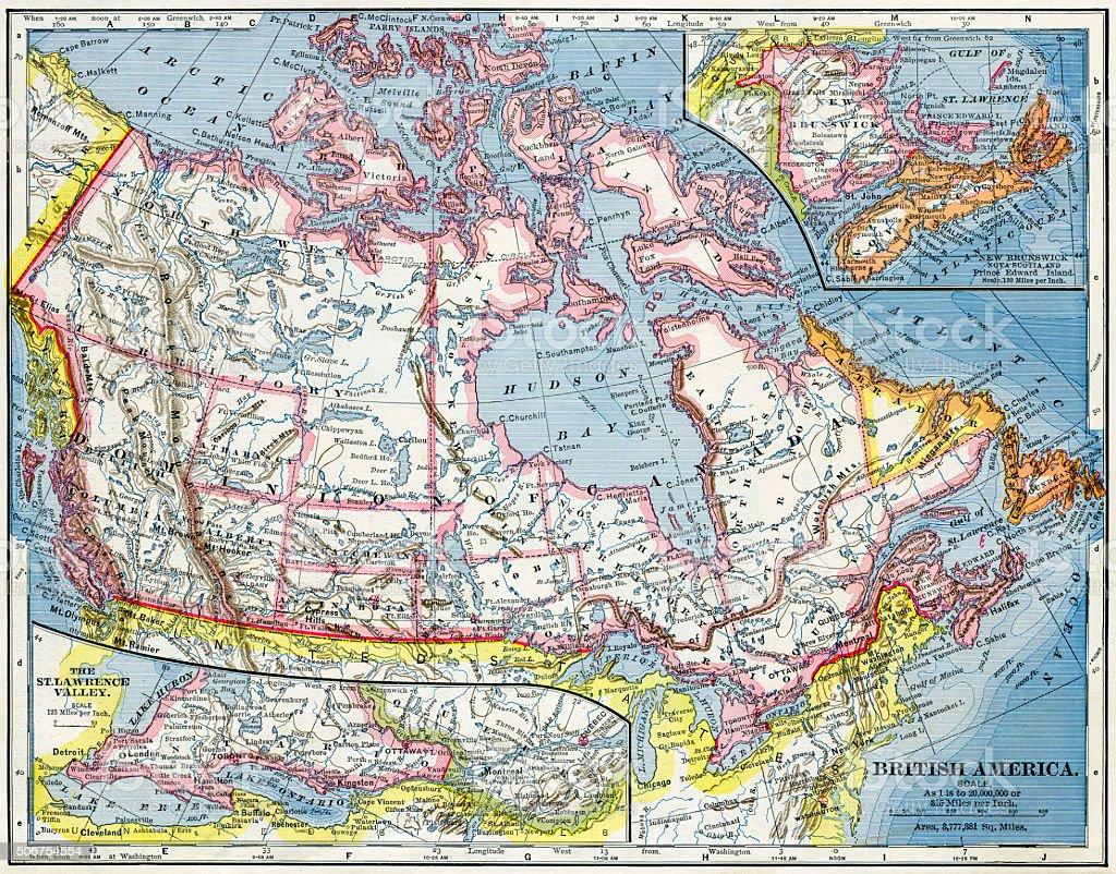British America (Canada) Map 1883 stock photo