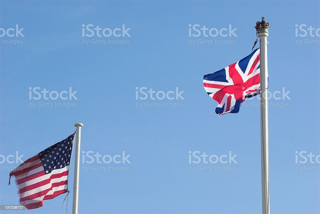 British and American flags. royalty-free stock photo