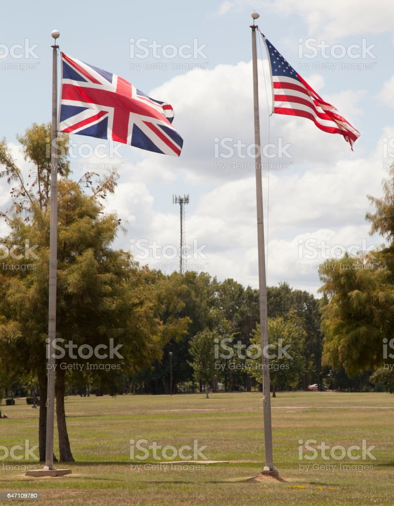 British and American Flags stock photo