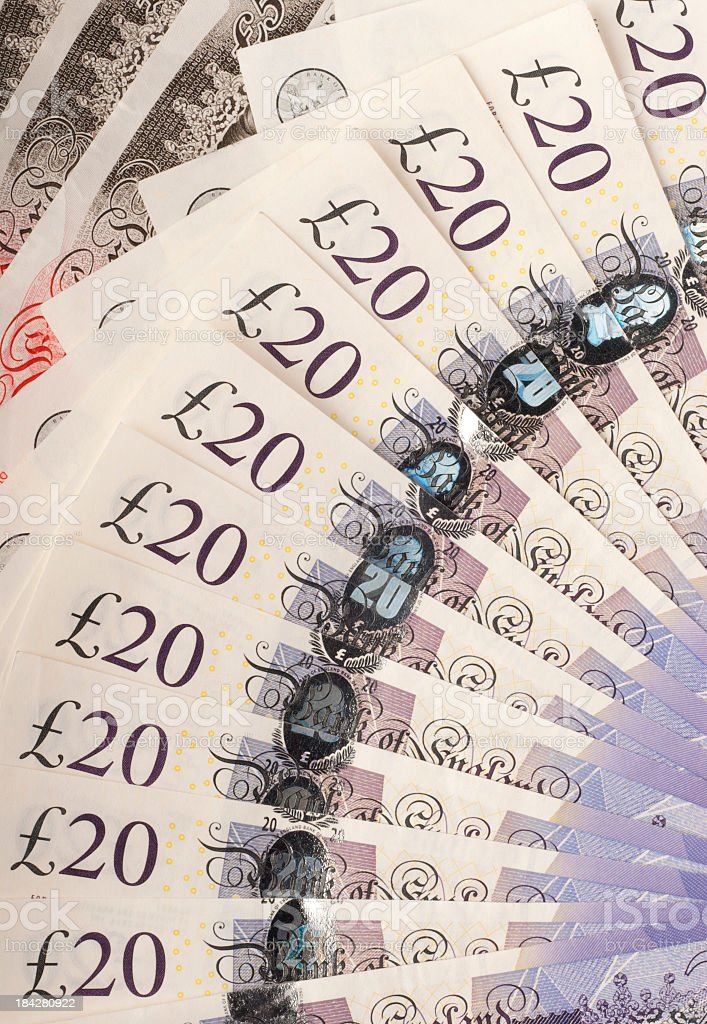 British bank notes fanned out stock photo
