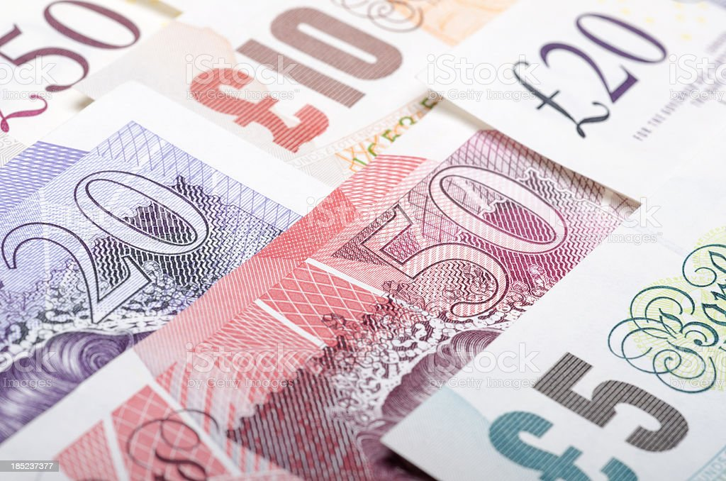British bank notes stock photo