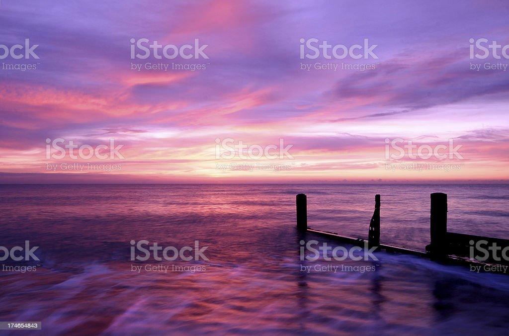 British Beach Sunrise Horsey Norfolk royalty-free stock photo