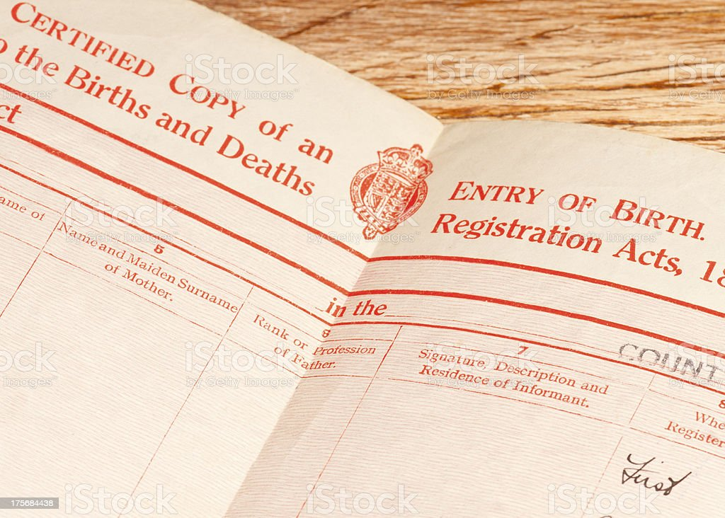 British birth certificate stock photo