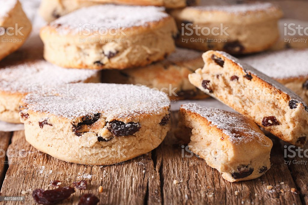 British biscuits: Welsh cakes with raisins and powdered sugar stock photo