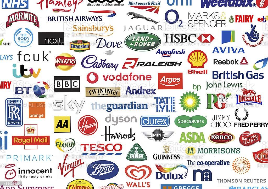 British Brands Company Identities logos. stock photo