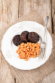 british breakfast with black pudding and baked bean