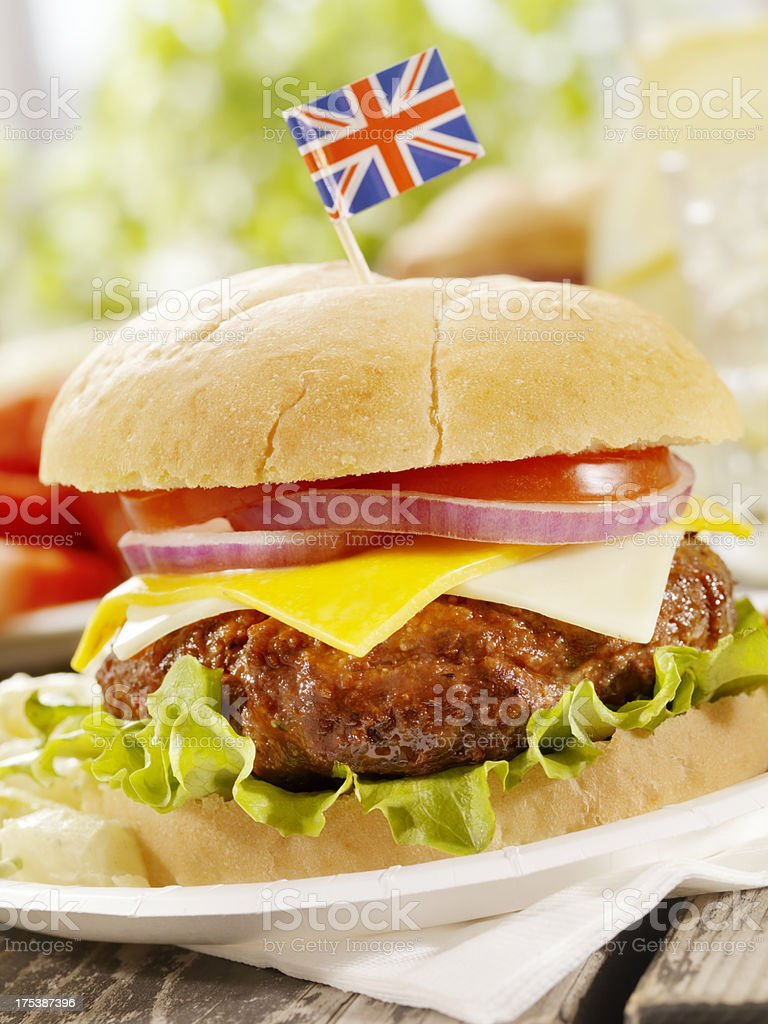 British Burger and a Lemonade royalty-free stock photo