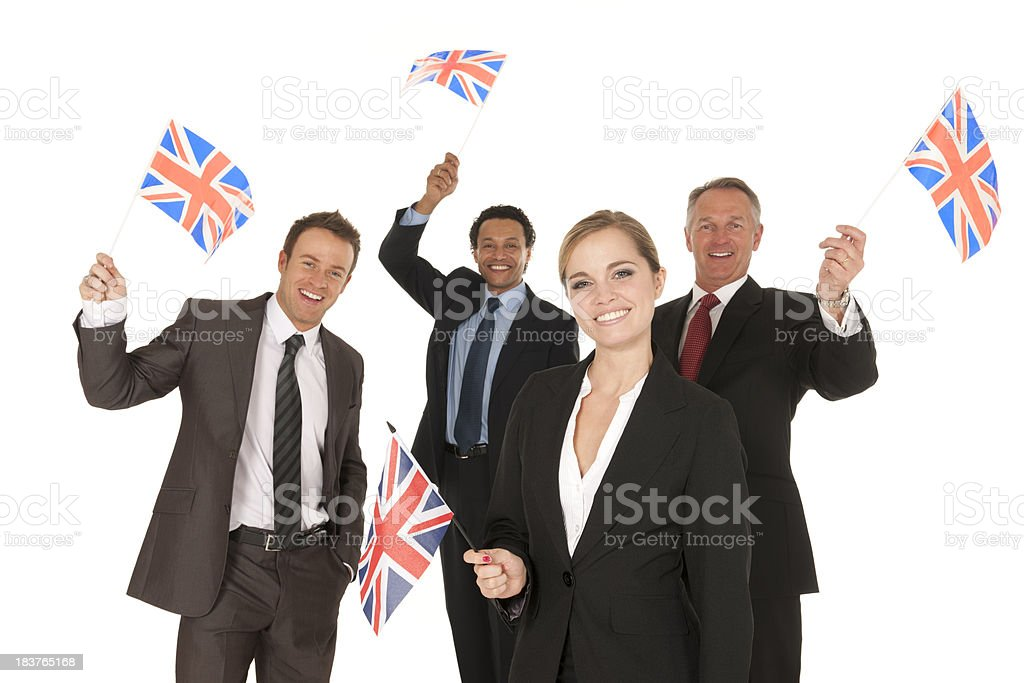British Business People Waving Union Jack Flag royalty-free stock photo