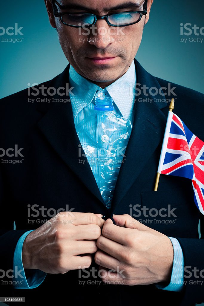 British Businessman with Plastic Bottle Tie royalty-free stock photo
