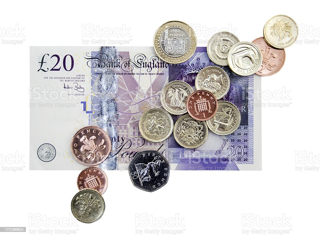British Cash Clipping Path stock photo